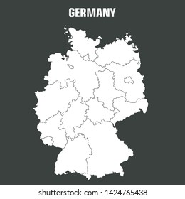 Vector icon map of Germany territory. Background outline map of Germany with the contours of areas. Illustration of Germany map in flat minimalism style.