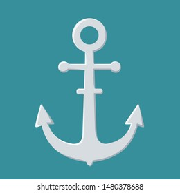Vector Icon metal sea ​​anchor. Illustration iron sea ​​anchor in flat style
