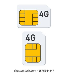vector icon mobile 4G chip sim card. Image mobile 4G sim card  cpu chip processor. Illustration electronic chip in flat style
