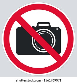 vector Icon no photo sign. Image no photo red round sign. Illustration no photo  sign in flat style