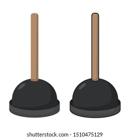 Vector Icon object Plunger. Image cartoon Plunger tool. Illustration toilet sink plunger in flat style