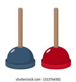 Vector Icon object Plunger. Image cartoon Plunger tool red and blue colors. Illustration toilet sink plunger in flat style