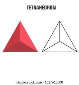 vector icon poster Platonic solid figures. Image objects Platonic solids: Tetrahedron figure. Illustration platonic solid tetrahedron in flat style