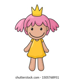Vector icon of a rag doll princess. The kids toy doll has pink hair, a crown and dress. Illustration cartoon doll toy