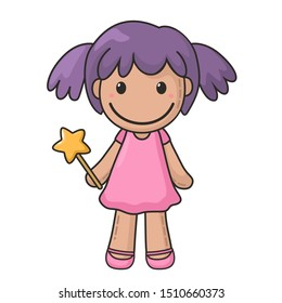 Vector icon of a rag doll princess. The kids toy doll has violet hair and pink dress. Illustration cartoon doll toy