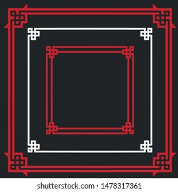 Vector icon set pattern frame. Traditional Chinese Asian frame pattern board. Illustration Chinese patterned frame in flat minimalism style.