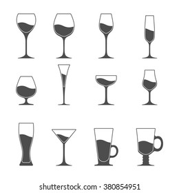 3dbf0ac6c89 Set Wine Glasses Different Shapes Icons Stock Vector (Royalty Free ...