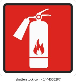 Vector icon sign fire extinguisher symbol. Cartoon red fire extinguisher sign. Illustration sticker red sign fire extinguisher symbol in flat style