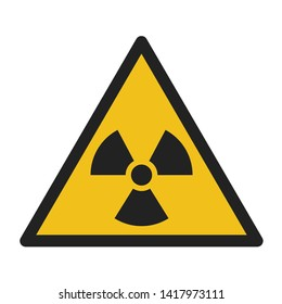 Vector icon sign radiation. Sign yellow triangle radiation toxic. Illustration sticker of radiation symbol sign in flat minimalism style.
