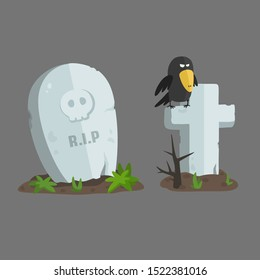 /vector icon Tombstone with the inscription RIP and skull; The grave cross on which the crows sit; Illustration cartoon grave headstone