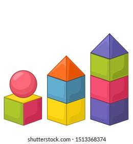 Vector Icon toy cartoon color blocks and pyramid. Image child toy color bricks, balls  and blocks