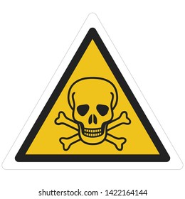 Vector icon Triangle sign danger toxic. A yellow triangle sign with a skull toxic  sign. Illustration sticker of a toxic skull symbol sign in flat minimalism style.