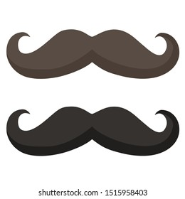 Vector Icon vintage man mustache. Image brown and black mustache. Illustration mustache in flat style