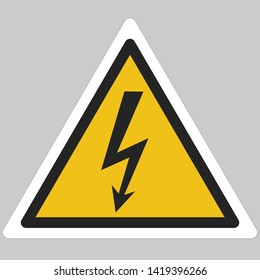 Vector icon warning sign voltage. Yellow triangle sign with a lightning voltage sign. Illustration of a warning sign symbol of the danger of electrical voltage in flat minimalism style.