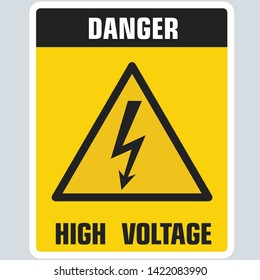 Vector icon warning triangle voltage sign. Sign yellow triangle with lightning voltage and text: DANGER. High voltage. Illustration of triangle symbol sign sign voltage in flat style