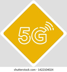 Vector icon warning wireless internet 5G sign. The sign is a yellow square with a 5G mobile connection sign. Illustration sticker of 5G internet connection symbol sign in flat minimalism style.