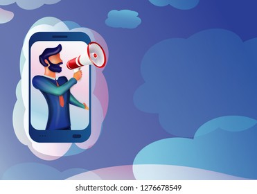 Vector illustration 3d man character shouting with megaphone. Notice from mobile. Use for mobile web app-template- ui - poster - flyer - banner. Flat clouds background