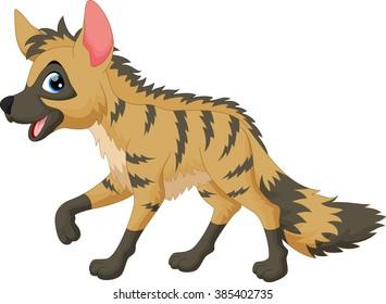 Vector illustration of aardwolf cartoon isolated on white background
