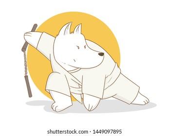 Vector illustration of Cartoon Karate dog with nunchuks
