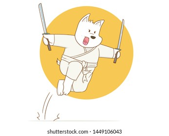 Vector illustration of Cartoon Karate dog use sword on a white background