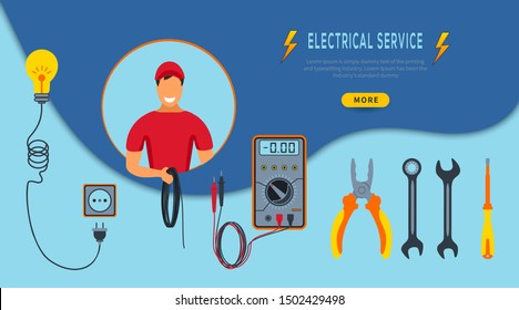 Vector Illustration Concept Electrical service. Horizontal banner  with cartoon electrician in red uniform holding cable. Set of colorful professional tools pliers, multimeter, screwdriver, light bulb