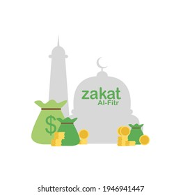 vector illustration and concept of zakat fitrah in the holy month of Ramadan. zakat al fitr, helping the economy to others and other celebrations.