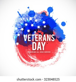 Vector illustration happy veterans day flag design over a white background.