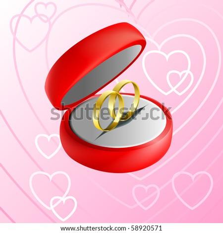 Vector Illustration Red Jewelry Box Wedding Stock Illustration