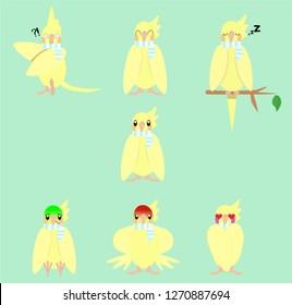 Vector Illustration set of Sticker yellow bird with emoji expressions cockatiel