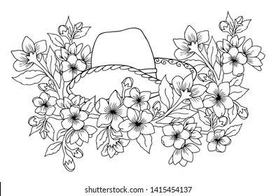 Vector illustration zentangl. Cowboy hat among the flowers of sakura. Coloring book. Antistress for adults and children. Work done in manual mode. Black and white.