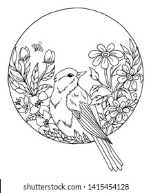 Vector illustration zentangl. Goldfinch among the flowers in the circle. Coloring book. Antistress for adults and children. Work done in manual mode. Black and white.