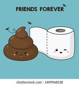 Vector kawaii cartoon icon poop and toilet paper. Image smile cartoon chibi toilet paper and shit. Illustration friends emoji poop and toilet paper
