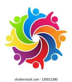 Vector Logo Social Friends. Group 8 People