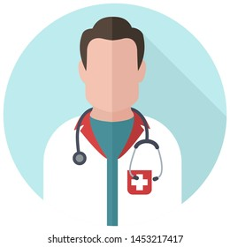 Vector medical icon doctor. Image Doctor with stethoscope. Avatar Medic Illustration in flat style.