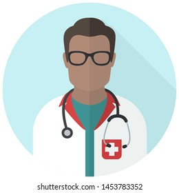 Vector medical icon doctor. Image Doctor in glass and with stethoscope. Illustration Medic doctor avatar in a flat style.