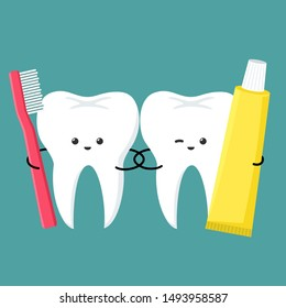 Vector Medical icon kawaii tooth with toothbrush and toothpaste. Image dental care cartoon chibi  tooth. Illustration emoji smile teeth in flat style