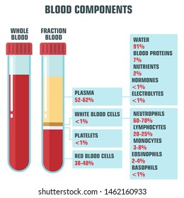 Vector medical icon structure of blood. Illustration of a test tube with blood components:platelets, plasma, white and red blood cells; test tube with