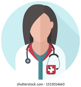 Vector Medical icon woman doctor. Image doctor female avatar. Illustration character women doctor in flat style