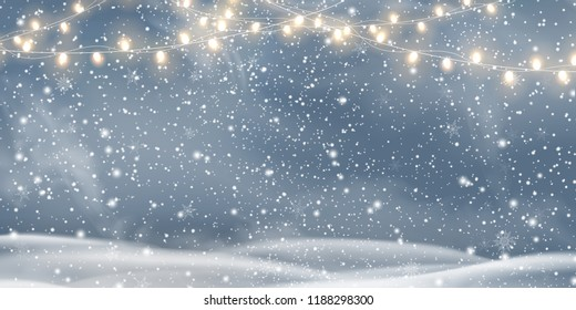 Vector night Christmas, Snowy landscape with light garlands, snow, snowflakes, snowdrift. Happy new year. Holiday winter landscape for Merry Christmas. Winter background. Christmas scene. Vector.