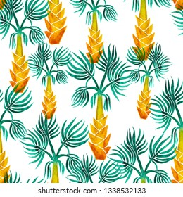 vector palm trees isolated on white background. Hand drawn seamless pattern. Perfect for fabric, wallpaper or giftwrap.