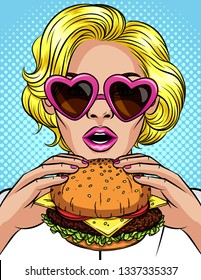 Vector pop art comic style illustration of a girl eating a cheeseburger. Beautiful business woman holding a big hamburger. Successful young lady with open mouth bites a huge burger