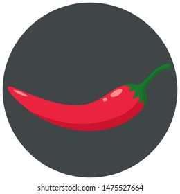 Vector product icon set of chili pepper. The product is a vegetable sharp red chili peppers. Illustration of food hot chili pepper in flat minimalism style.