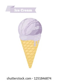 Vector purple ice cream in cone, plum taste in pastry. Made in cartoon flat style