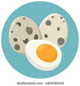 Vector Quail egg product food icon. Cartoon boiled quail eggs in the shell and without the shell. Illustration food quail eggs in flat minimalism style.