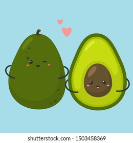 Vector romantic food icon cartoon avocado. Image love avocado with smile face. Illustration love emoji avocado in flatstyle