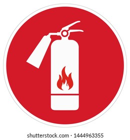 Vector safety icon sign fire extinguisher symbol. Cartoon red fire extinguisher sign. Illustration sticker red sign fire extinguisher symbol in flat style