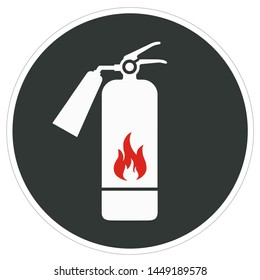 Vector safety icon sign fire extinguisher symbol. Cartoon fire extinguisher sign. Illustration sticker black sign fire extinguisher symbol in flat style