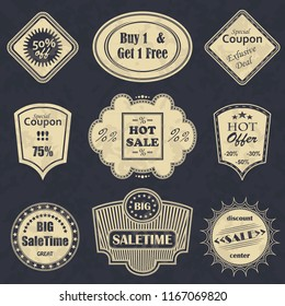 Vector sale labels. Vintage style. Grunge design