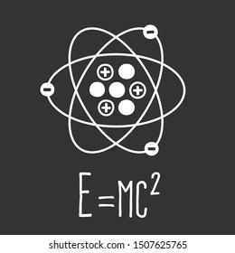 Vector science  physics atom molecule Einstein formula e=mc2 icon. Image science physics  mass–energy equivalence formula and atom. Illustration Atom Theory of relativity e=mc2 in flat style