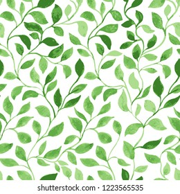 Vector Seamless Pattern. Green Leaves classic foliage. Watercolor Hand Drawn Gift Wrapping or Scrapbook. Fabric textile and Surface Design. Spring motif